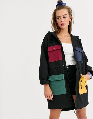 Lazy Oaf parka jacket with coloured pockets-Black