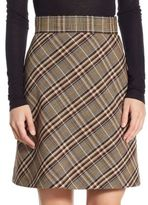 Theory A-Line Stripe Wool Skirt