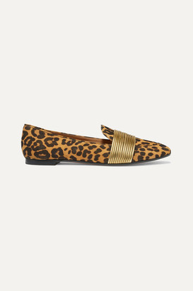 Aquazzura Rendez Vous Leather-trimmed Leopard-print Suede Loafers - Leopard print