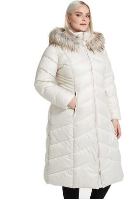 Gallery Plus Size Faux-Fur Hood Long Puffer Coat