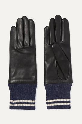 Rag & Bone Striped Ribbed Alpaca-trimmed Leather Gloves - Black