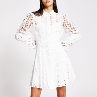 River Island Womens White long sleeve pearl button broderie dress