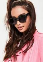 Missguided Black Oval Frame Sunglasses, Black