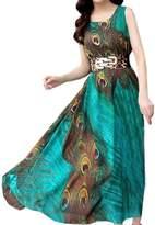 Partiss Womens Summer Plus size Peacock Printed Paris Bohemian Maxi Beach Dress,Chinese S
