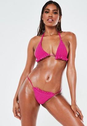Missguided Pink Crinkle High Leg Tanga Bikini Bottoms
