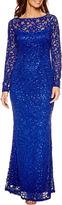 BLUE SAGE Blu Sage Long Sleeve Lace Sequin Evening Gown-Petites
