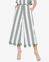 Express English Factory High Waisted Striped Fringe Wide Leg Pant