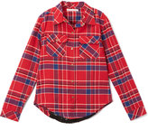 Celebrity Pink Red Yarn-Dye Plaid Lace-Trim Button-Up - Girls