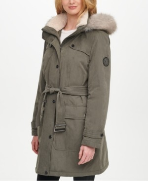 DKNY Belted Faux-Fur-Trim Hooded Water-Resistant Anorak