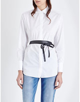 Valentino Faux-leather Belt Cotton-poplin Shirt