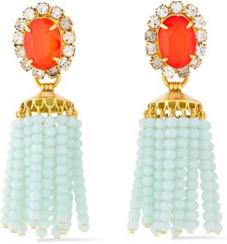 Elizabeth Cole 24-karat Gold-plated, Crystal, Stone And Beaded Tassel Earrings