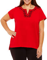 Liz Claiborne Split Neck Tee- Plus