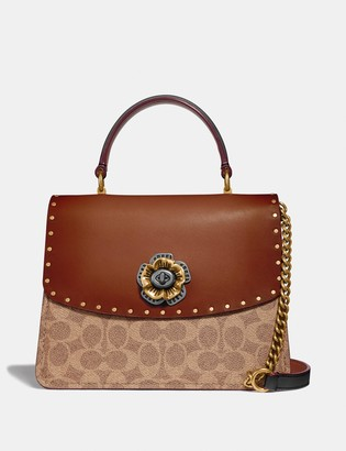 Coach Parker Top Handle In Signature Canvas With Rivets