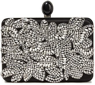 Oscar de la Renta Rogan Crystal-embellished Silk-satin Box Clutch