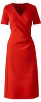 Lands' End Women's Petite Short Sleeve Pont&eacute Surplice Dress-Black