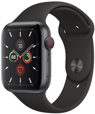 Apple Watch Series 5 GPS + Cellular, 44mm Space Gray Aluminum Case with Black Sport Band - S/M & M/L