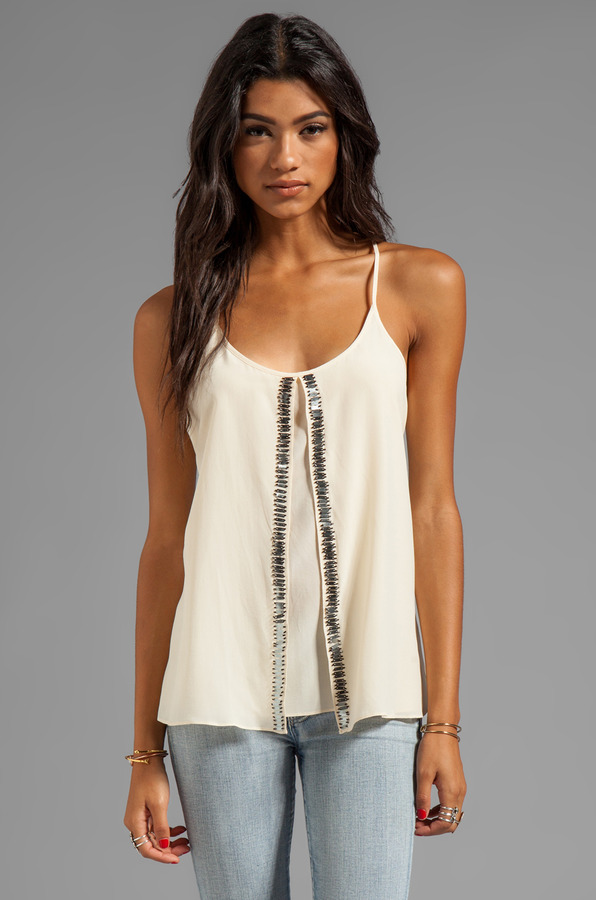 Plenty by Tracy Reese Silk Embellished Soft Solids Beaded Fly Away Tank