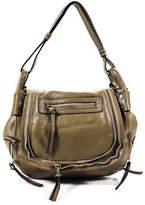 JOELLE HAWKENS by treesje JOELLE HAWKENS Brown Tan Leather Zipper Detail Flap Cross Body Hand Bag
