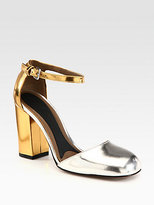 Bicolor Metallic Leather Ankle Strap Pumps