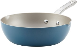 Ayesha Curry Home Collection 9.75-inch Porcelain Enamel Nonstick Chef Pan With Pour Spouts