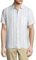 Luciano Barbera Short-Sleeve Stripe-Print Linen Shirt, Tan/White