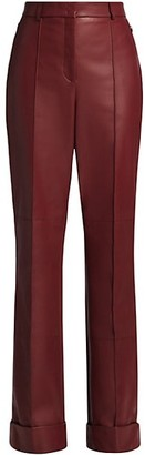 Akris Flore Leather Straight-Leg Pants