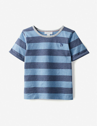 The Little White Company Giraffe-embroidered striped cotton-jersey T-shirt 12-18 months