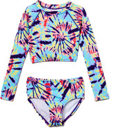 Kanu Surf Girls' Bikini Bottoms Multi - Light Blue Camille Tie-Dye Camille Long-Sleeve Crop Rashguard Set - Toddler & Girls