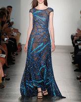 Pamella Roland Fireworld Embroidered Mesh Organza Evening Gown