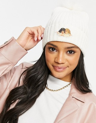 Fiorucci knitted beanie with angel graphic and fluffy pom pom