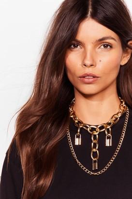 Nasty Gal Womens Padlock You Down Layered Chain Necklace - Metallics - ONE SIZE, Metallics