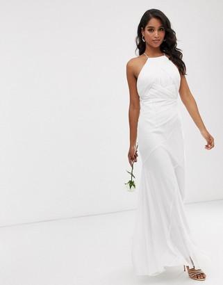 Asos Design DESIGN Bridesmaid pinny bodice maxi dress with fishtail skirt-White