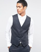 Selected Suit Waistcoat With Brushed Tonal Check In Skinny Fit