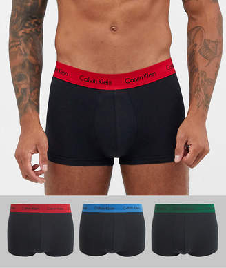 Calvin Klein 3 pack Cotton Stretch low rise trunks in black