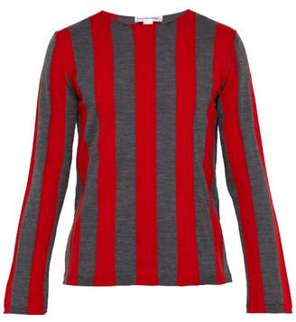 Comme des Garcons Striped Wool-blend Sweater - Mens - Red