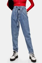 Topshop Mid Blue Paperbag Mom Tapered Jeans