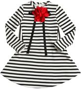 Simonetta Stripes Cotton Dress W/ Flower & Bow Pin