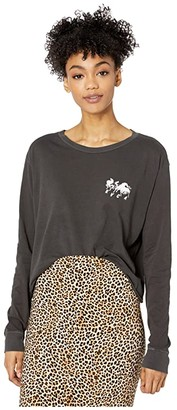 RVCA Mustang Long Sleeve Boyfriend T-Shirt (Black) Women's Clothing