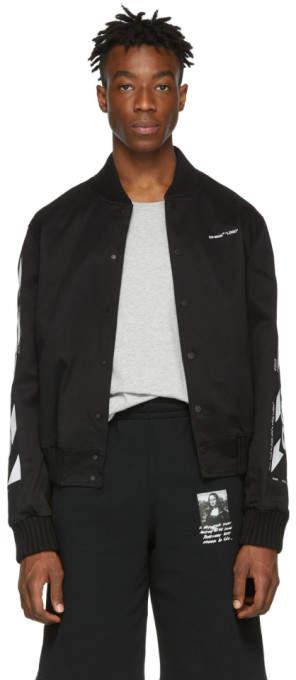 Off-White Black Diag Varsity Bomber Jacket