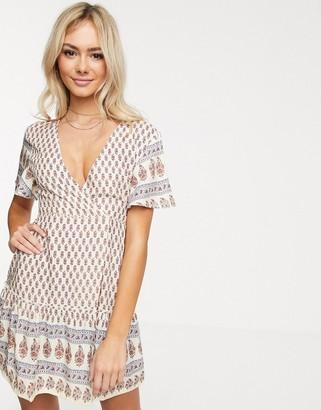 Raga Avah paisley border print wrap dress-Multi
