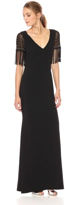 Badgley Mischka Women's Gown with Finge Beaded Sleeves