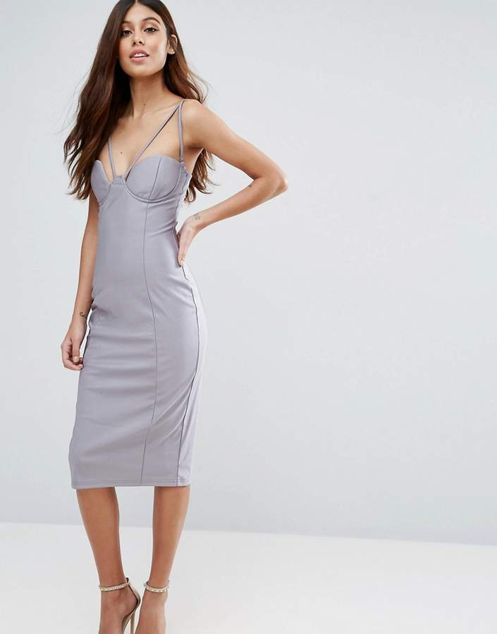 Rare Strappy Cut Out Cup Midi Dress