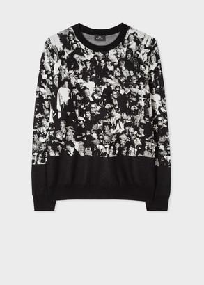 Paul Smith Men's Monochrome 'Crowd' Jacquard Cotton Sweater
