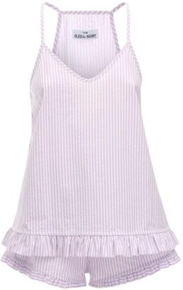Ruffled Seersucker Cotton Pajama Set