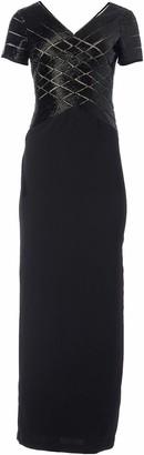 Adrianna Papell Women's Short Sleeve V Neck Beaded Long Gown