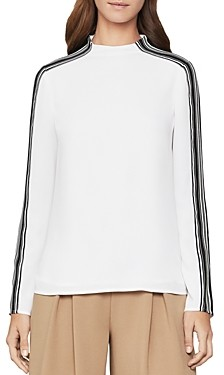 BCBGMAXAZRIA Striped-Sleeve Top
