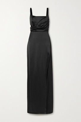 Brandon Maxwell Cutout Draped Silk-satin Gown - Black