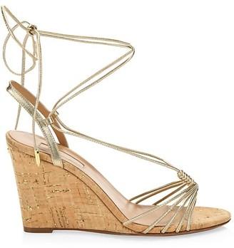 Aquazzura Whisper Metallic Leather Wedge Sandals