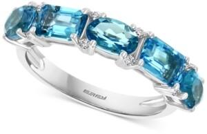 Effy Blue Topaz (2-7/8 ct. t.w.) & Diamond (1/4 ct. t.w.) Ring in 14k White Gold