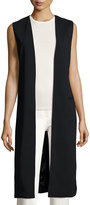 Joan Vass Sleeveless Open Jacket Vest, Black
